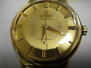 vintage omega constellation auto chronometer 18k gold pie pan dial image is loading vintage omega constellation auto chronometer 18k gold pie