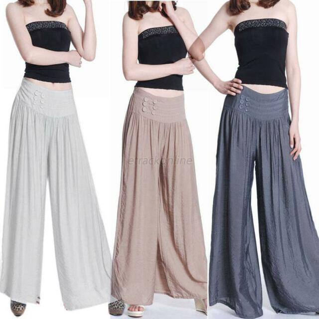 Loose Casual Women Long Brocade Culottes Pants Dress Wide Leg Pants Trousers New