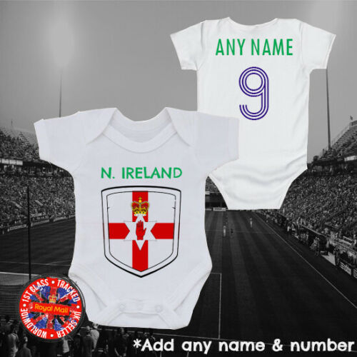 Northern Ireland Personalised Football Babygrow Vest Soccer Gift Euros World Cup