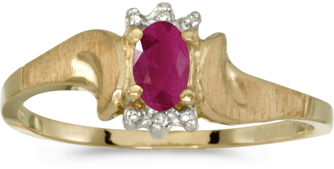 14k Yellow gold Oval Ruby And Diamond Satin Finish Ring (CM-RM1125X-07)