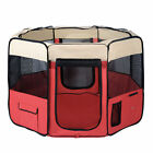 XL Portable Pet Playpen 8 Panels Dog Puppy Cat Exercise Soft Cage Crate Tent Red