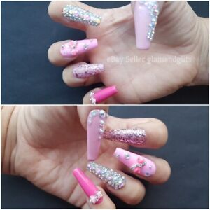 12x Extra Long Coffin Pink Diamante Hand Painted Uv Gel Glue On False Nails Ebay