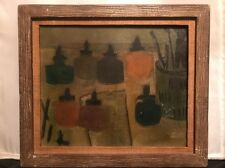 "Antique 19th.c Louise Fitzhuoh ""Bottles"" Oil on Cotton Canvas Woman Artist Rare!"