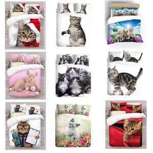 3D-diseno-de-impresion-fotografica-digital-Gatos-cubierta-del-edredon-edredon-con-fundas-de-almohada