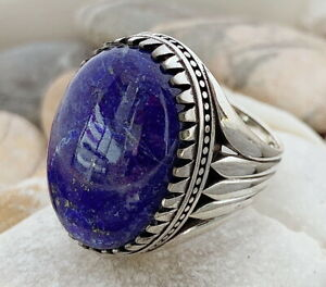 Handmade-Natural-Lapis-Lazuli-Stone-925-Sterling-Silver-Men-039-s-Womams-Ring-4