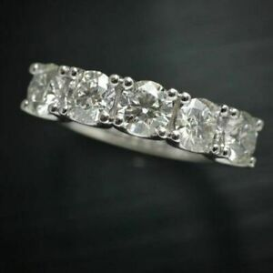 14k-White-Gold-Over-5-Stones-1-00-Ct-Round-Diamond-Wedding-Band-Anniversary-Ring
