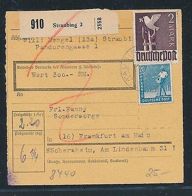 93268 6/1948 Ab Paketkarte 220pf Mif Mit 2m Taube Ab Straubing 2