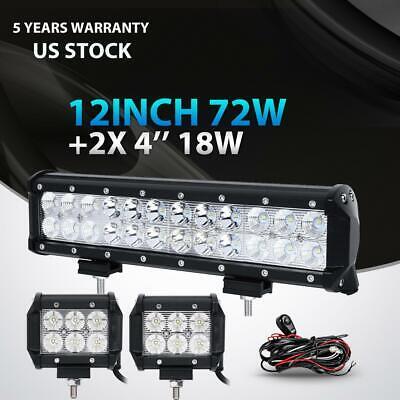 "Wiring Kit 14 12inch 72W+4/"" 18W LED Light Bar Work SPOT FLOOD 4WD CAR ATV"