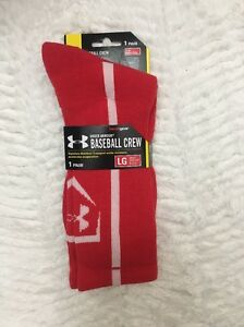 5feab1a1ca Details about Under Armour UA Baseball Crew Socks Men's Large 9-12 Red White