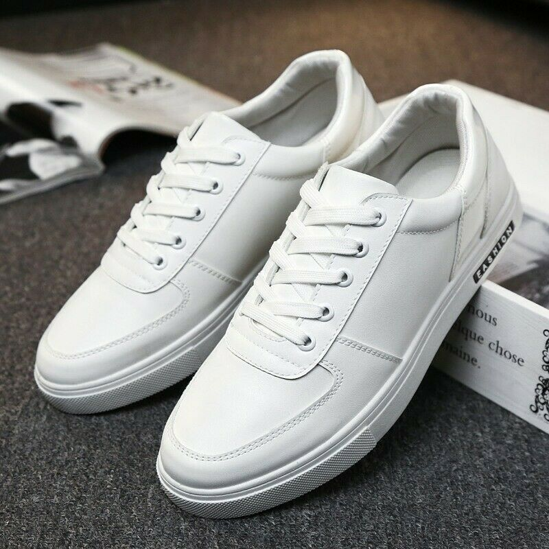 Mens Casual Athletic Sneakers Lace up PU Leather Flats Low top Board shoes Size