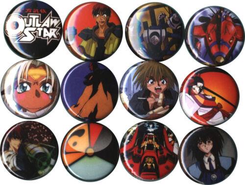 Outlaw Star Set of 12 Buttons-Pins-Badges Anime Melfina Gene Starwind Aisha Clan