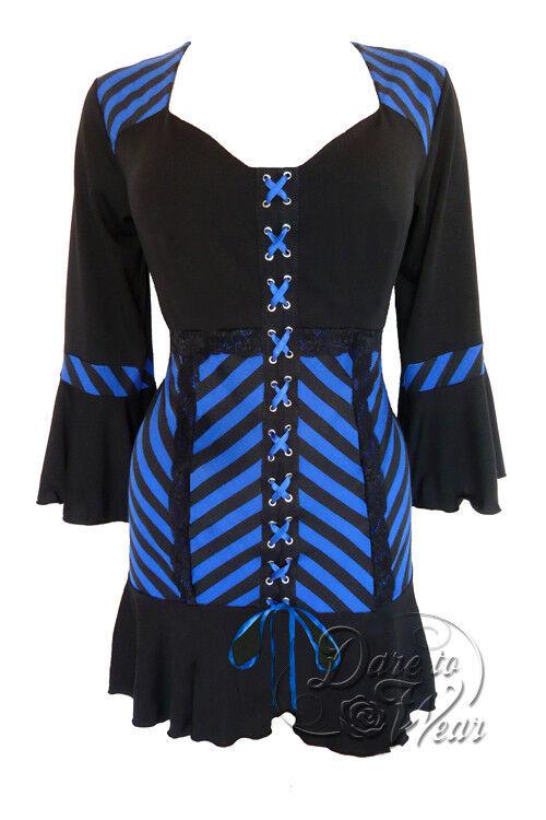 Plus Größe Gothic Flirty Cabaret Corset Top schwarz w Blau Grünigo 1X 2X 3X 4X 5X
