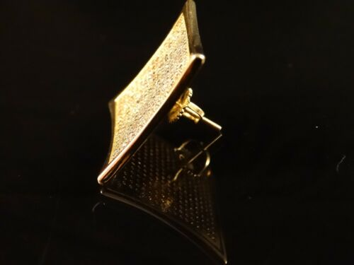 Véritable Argent Sterling Or Finition Zircone Cubique XL Kite Screwback Carré Clous D/'Oreilles 25 mm