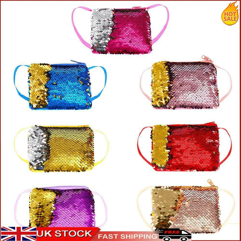 Mermaid Sequins Coin Purse Square Wallet Kids Girls Glittering Clutch Bags