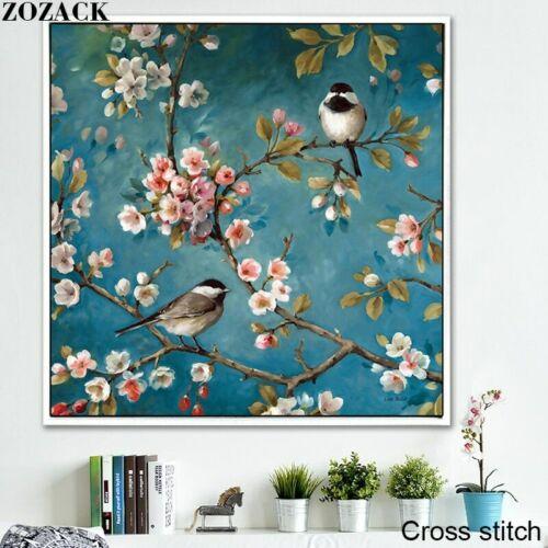 Cross Stitch Plum blossom Birdie patterns Needlework Full Kits White Canvas DIY