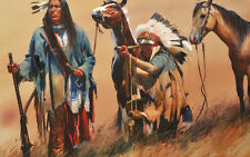 "36"" large TOP Western ART # American Indian Hunter with horse PAINTING CANVAS"