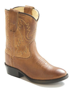 Old-West-Toddler-Boy-Girl-Brown-Tan-Leather-Western-Cowboy-Boots-4-5-6-7-8