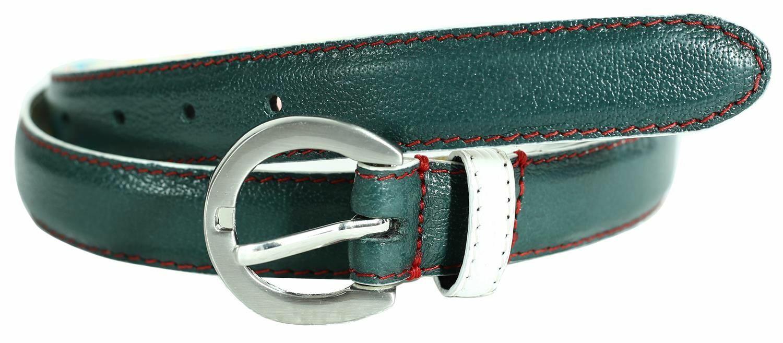 ! nuevo! Mini Plata Oval Verde Vogue Hebilla cinturones de cuero de bucle de contraste blanco M-4XL