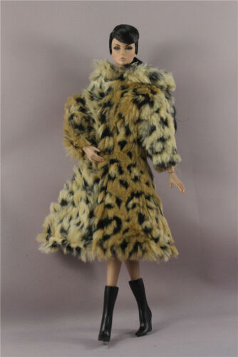 Fashion Yellow leopard Winter fur Coats Clothes//Outfit+boots For 11.5in.Doll