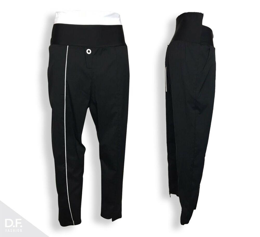 Art Point Femmes Droit 7/8 Pantalon Minimale Noir Coton Mix Uni L Made In Ue