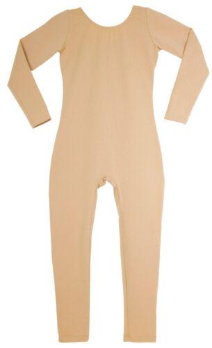 Long Sleeve Cotton Unitard Childs Nude Beige Skintone Tan NEW Bodysuit