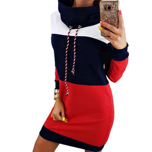 Women Fashion Winter Warm Turtleneck Long Sleeve Striped Sweatshirt Dress SH