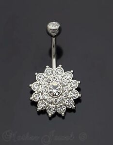 SILVER-SURGICAL-STEEL-SIMULATED-DIAMOND-DAHLIA-FLOWER-CLUSTER-BELLY-NAVEL-RING