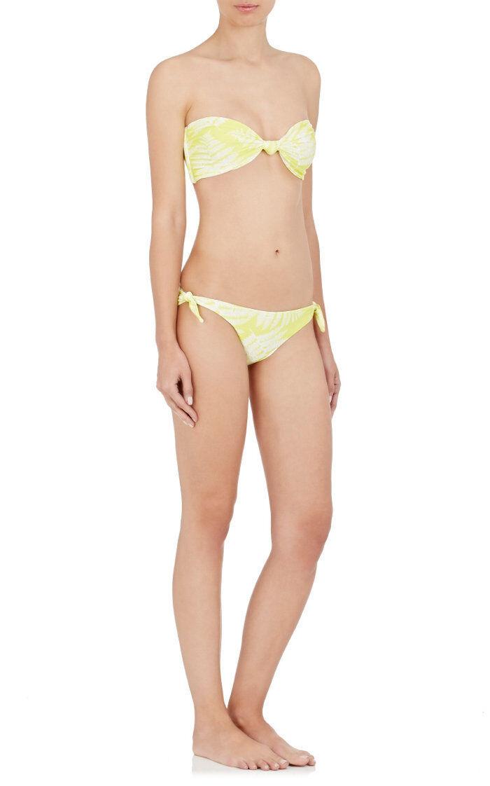 NEW Mikoh Lilikoi Neon Yellow White Fern Knotted Carmel Bikini Top Size XS S L