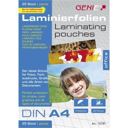 GENIE Laminierfolien DIN A4 80 Mikron Heiß Folien Laminiertaschen 25er Pack