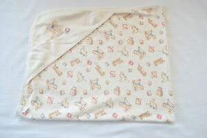Carters Hooded Baby Blanket Ivory Vintage Toys Rocking
