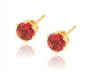 24ct-Yellow-Gold-Filled-Red-Ruby-Gemstone-5mm-Women-s-Girl-s-Stud-Earrings