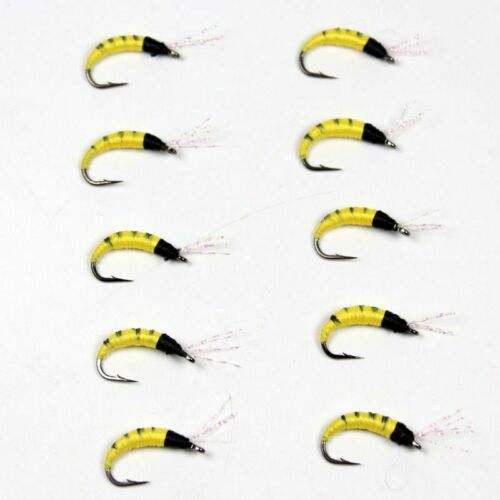 10pcs Yellow Pupa Larva Nymph Fly For Trout Bass Fishing Size 6 High Quality New