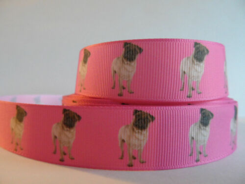 """Grosgrain Ribbon Pugs Dogs Have You Hugged Your Pug Today Pets Fur Babies 7//8/"""""""