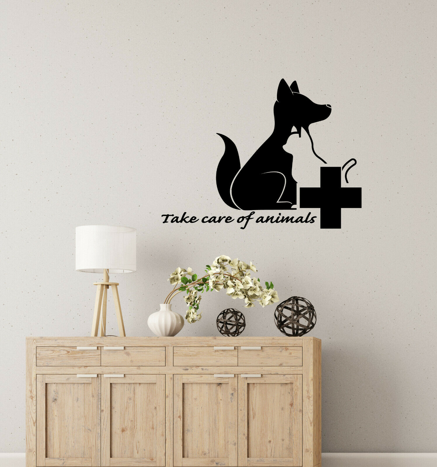 Vinyl Wall Decal Take Care Of Animals Quote Veterinary Clinic Stickers (4044ig)