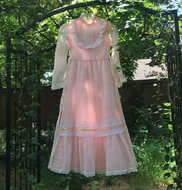 Vintage 1970s Gunne Sax Style Baby Pink Prairie D… - image 1