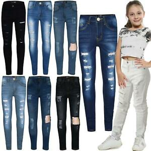 Kids Girls Skinny Jeans Denim Ripped Stretchy Pants Jeggings New Age 3-13  Years   eBay