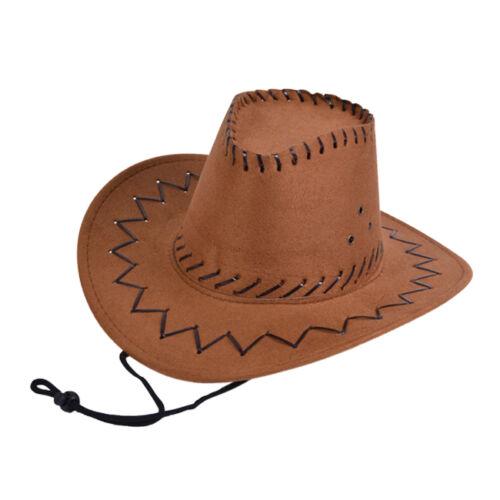 Childrens marroni in pelle cucito cappello da cowboy Sceriffo Cappello Da Cowboy Costume di Scena