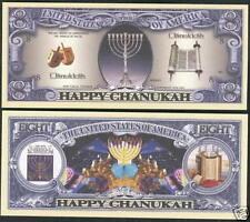 1 'CHANUKAH' NOVELTY DOLLAR BILL ~ ~ ~ ~ ~ boys girls kids Chanuka Gift present