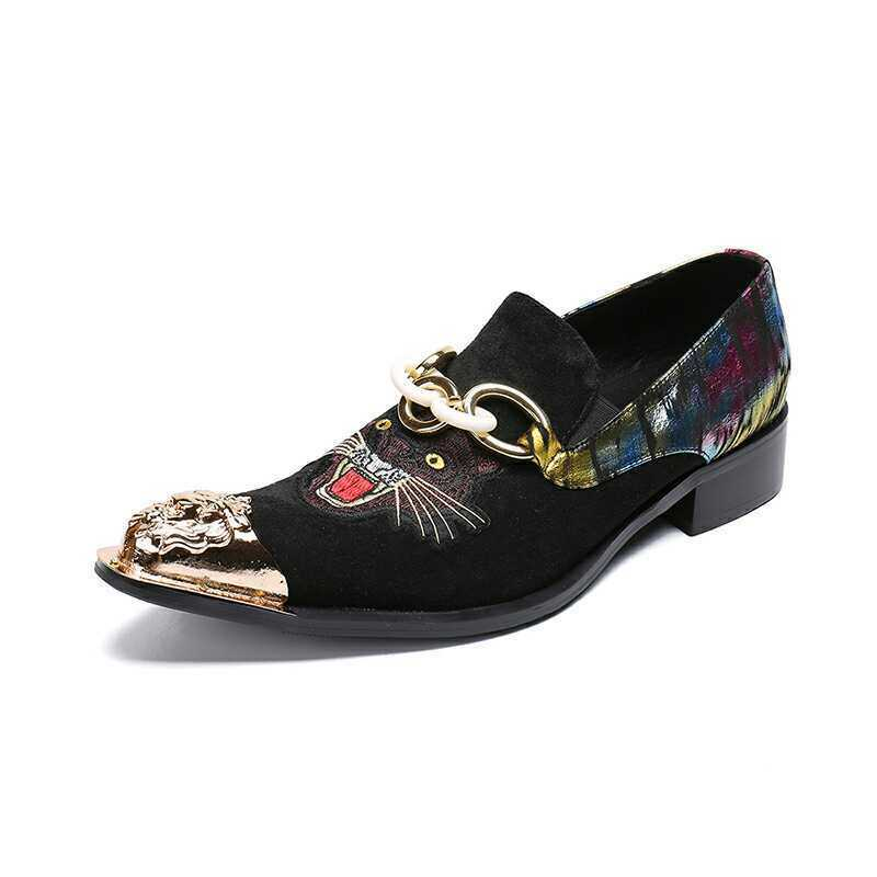 Men's Fashion Metal Decor Pointy Toe Embroidery Slip On Loafers Leather shoes