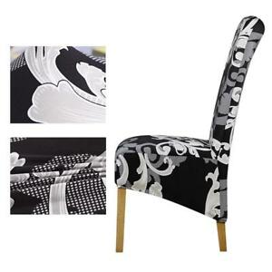 Details about Checked Patterned Chair Cover Flower Print Long Back Size Wedding Party Seat New