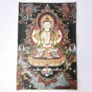 36-034-Tibet-Tibetan-Cloth-Silk-4-Arm-Guanyin-Kwan-yin-Tangka-Thangka-Mural-Painting