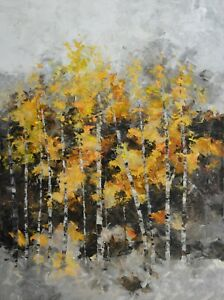 Big-Original-Acrylic-Yellow-Birch-Tree-Art-Landscape-on-Canvas-by-Hunoz-36-x-48-034