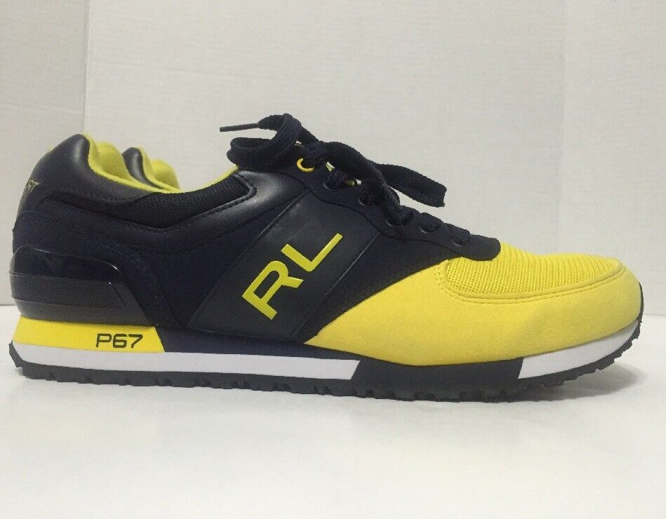 Polo Sport Ralph Lauren Slaton Navy Yellow RL Athletic Sneakers Mens Size 14