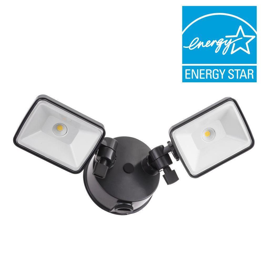 Lithonia Lighting contratista seleccionar OLF 2SH 2-cabeza Bronce al aire libre LED integrado