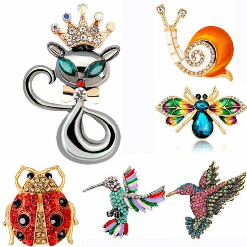 Cute Cat Crown Snail Insect Crystal Gold Plated Party Women Brooch Pin Jewelry