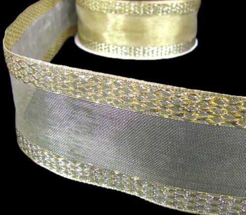 "5 Yards Solid Metallic Gold Diamond Mesh Sheer Center Wired Ribbon 2 1//2/""W"