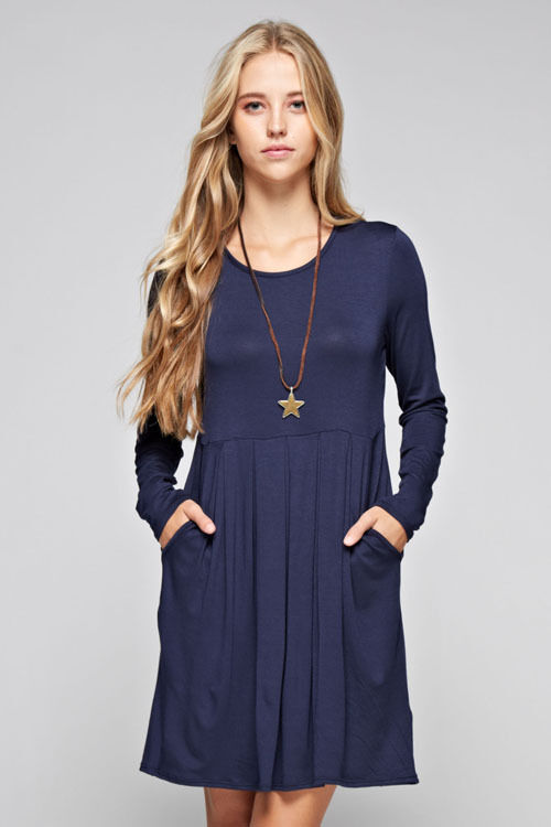 12PM by Mon Ami Womens Solid Navy Long Sleeve Casual Mini Tunic Dress Size S M L