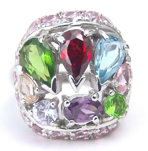 Garnet Amethyst Peridot Pink color CZ Ring Sterling Silver Size 6