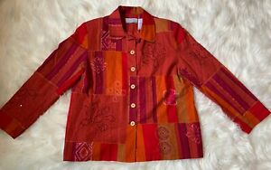 ALFRED-DUNNER-Womens-Size-14P-Shirt-Jacket-Lined-Embroidered-Beaded-Lightweight