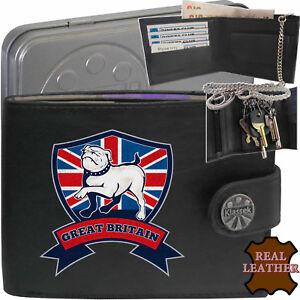 British Bulldog Shield Britain Mens Wallet Real Leather RFID Chain Keyring TIN